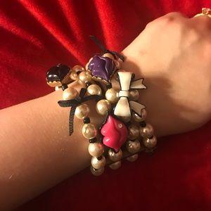 Betsey Johnson pearl lips bracelet